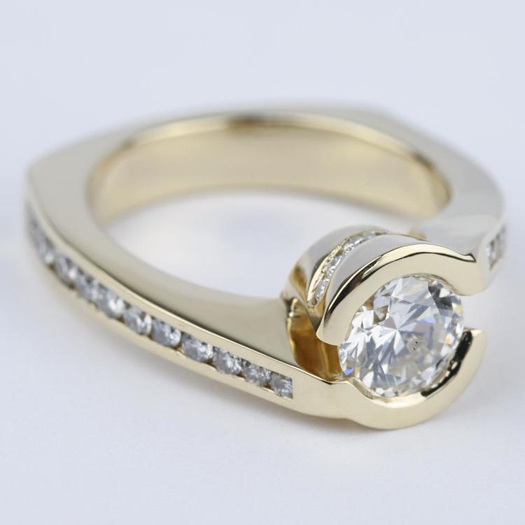 Custom Bezel Diamond Engagement Ring in Yellow Gold (0.90 ct.) angle 3