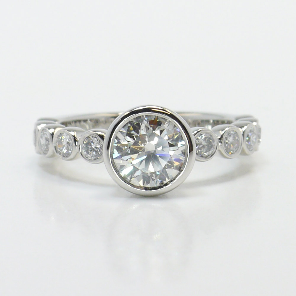 Custom Bezel Engagement Ring In Platinum. Denim Watches. Man Made Emerald. Budget Wedding Rings. Inlaid Engagement Rings. Expensive Bracelet. Pointer Rings. Necklace Watches. Pink Diamond Engagement Rings
