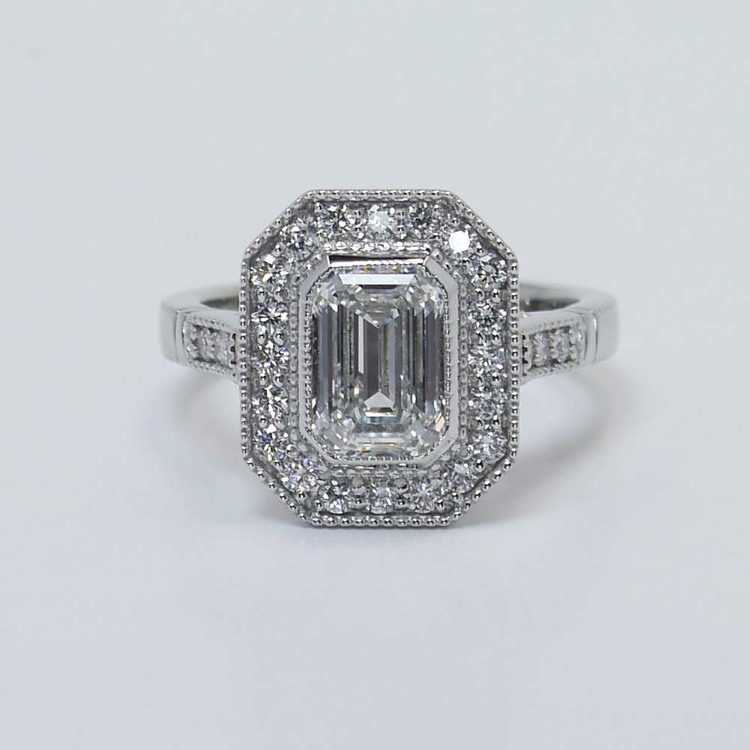 Custom Emerald Diamond Art Deco Halo Ring (1.5 Carat)