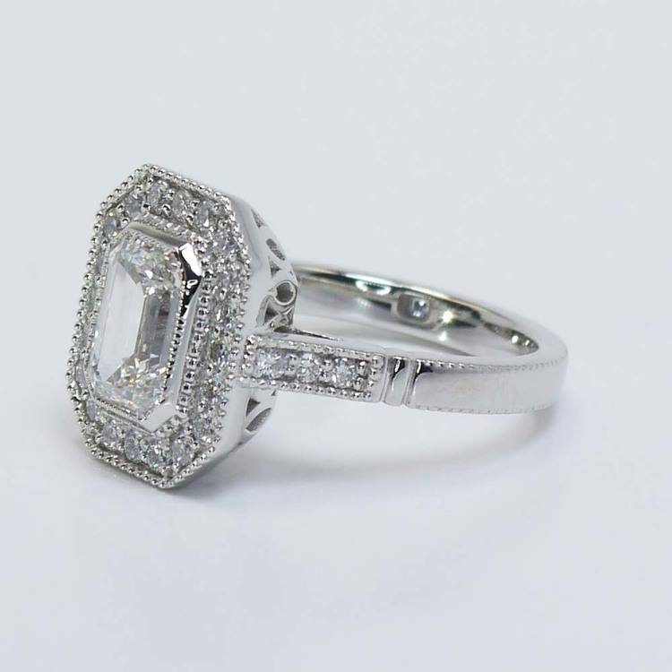 Custom Emerald Diamond Art Deco Halo Ring (1.5 Carat) angle 2