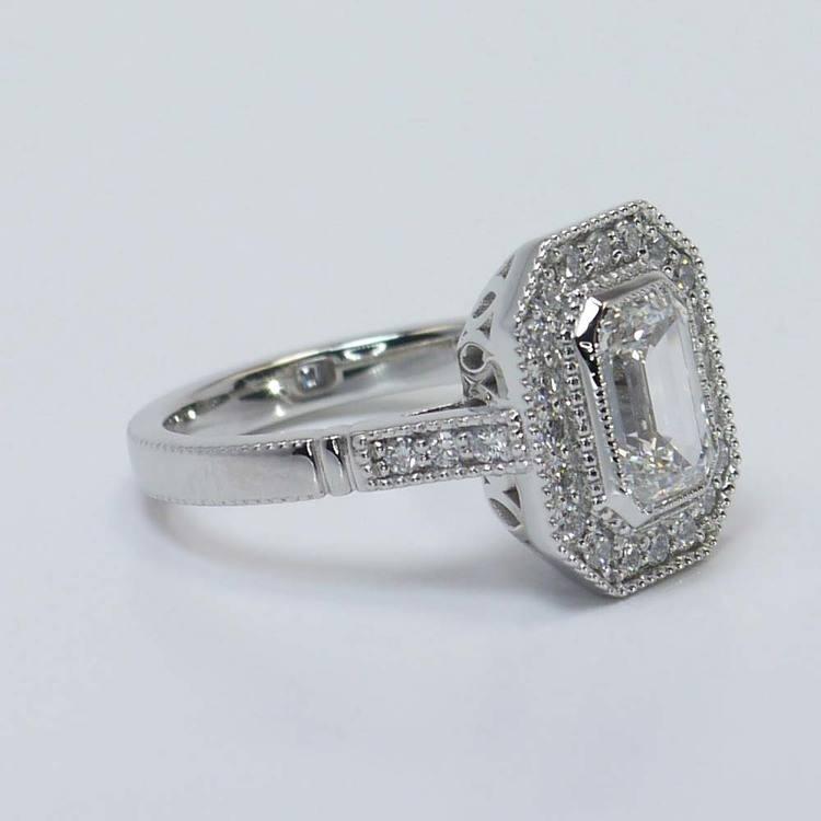 Custom Emerald Diamond Art Deco Halo Ring (1.5 Carat) angle 3