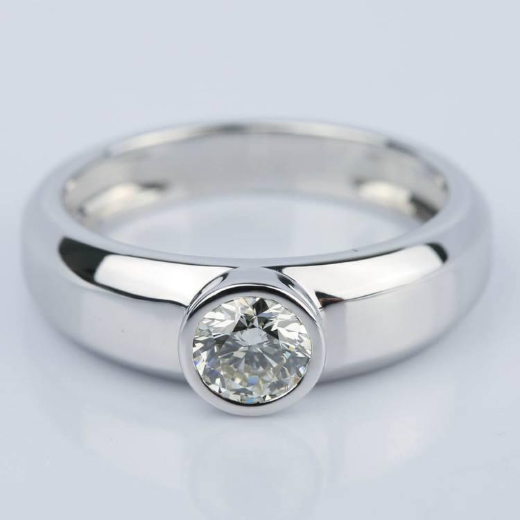 Custom Bezel Solitaire Diamond Engagement Ring (0.75 ct.)