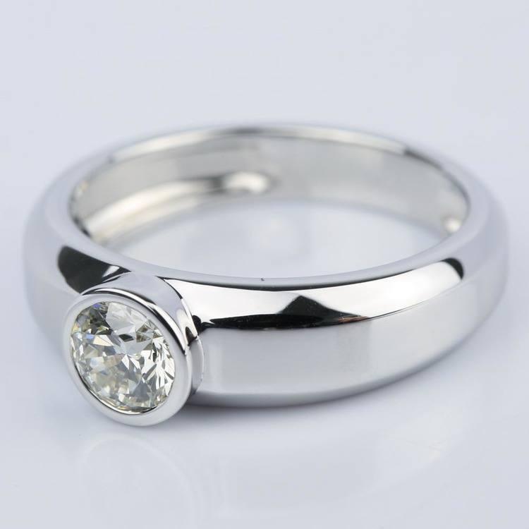 Custom Bezel Solitaire Diamond Engagement Ring (0.75 ct.) angle 2
