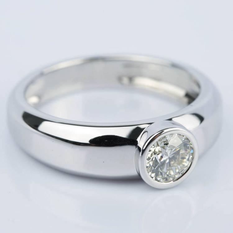 Custom Bezel Solitaire Diamond Engagement Ring (0.75 ct.) angle 3