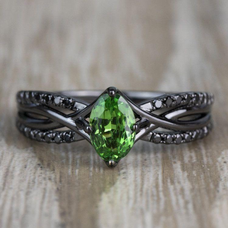 Custom Black Gold Twisted Split Shank Engagement Ring