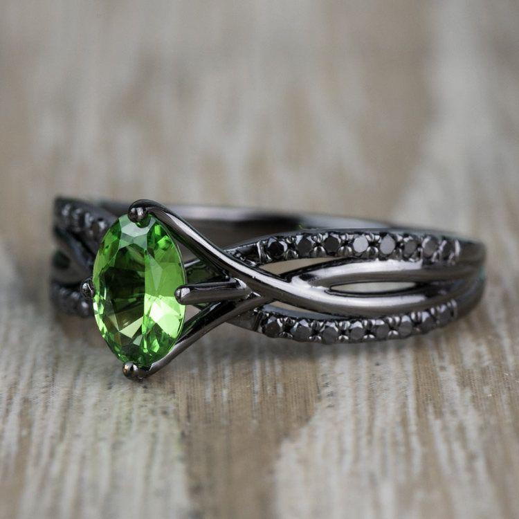 Custom Black Gold Twisted Split Shank Engagement Ring angle 2