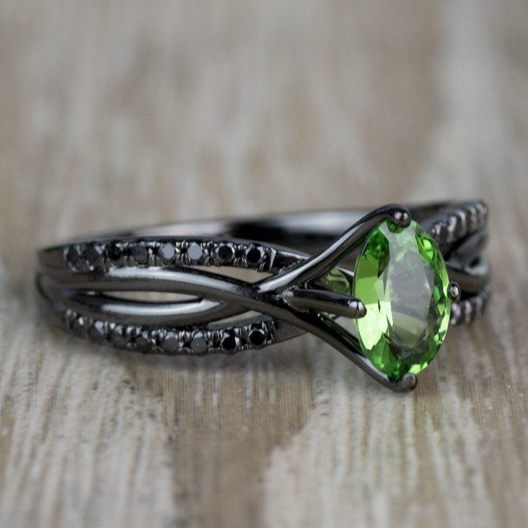 Custom Black Gold Twisted Split Shank Engagement Ring angle 3