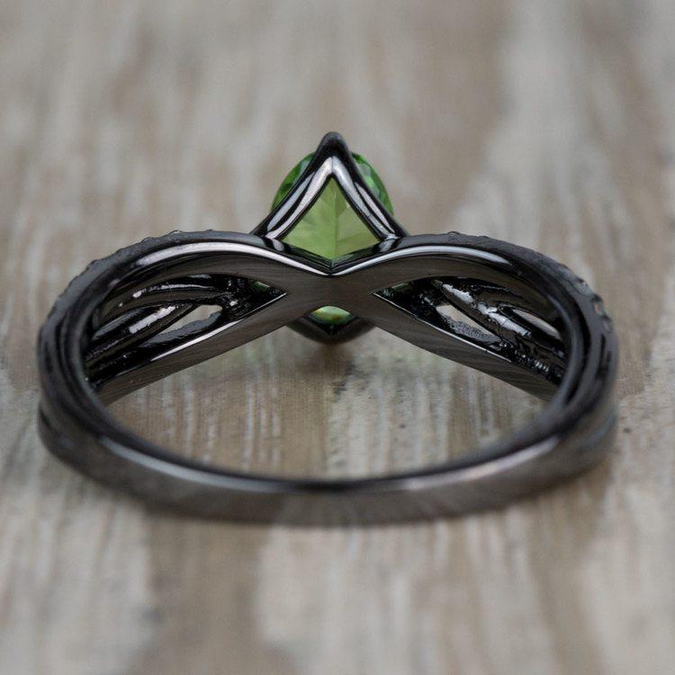 Custom Black Gold Twisted Split Shank Engagement Ring angle 4