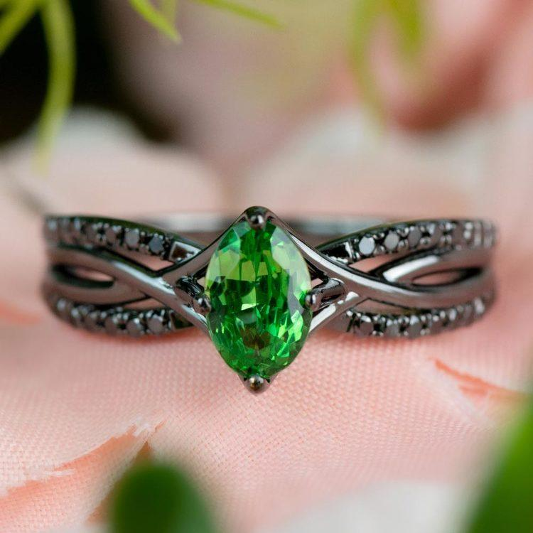 Custom Black Gold Twisted Split Shank Engagement Ring angle 5