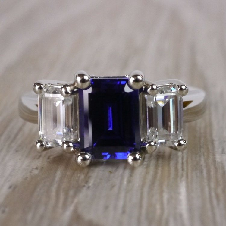 Custom Blue Sapphire & Emerald Diamond Engagement Ring