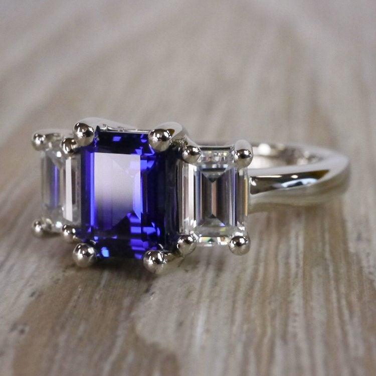 Custom Blue Sapphire & Emerald Diamond Engagement Ring angle 2