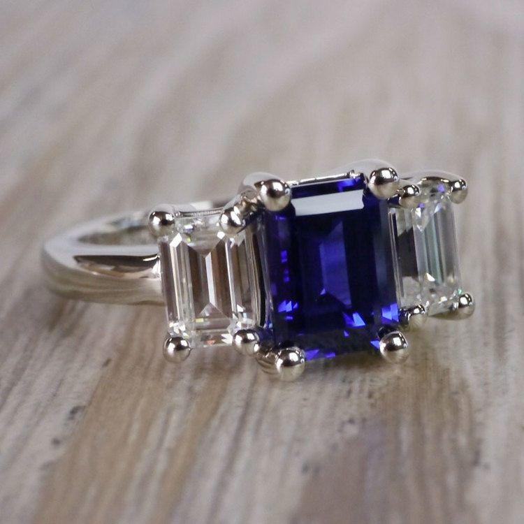 Custom Blue Sapphire & Emerald Diamond Engagement Ring angle 3