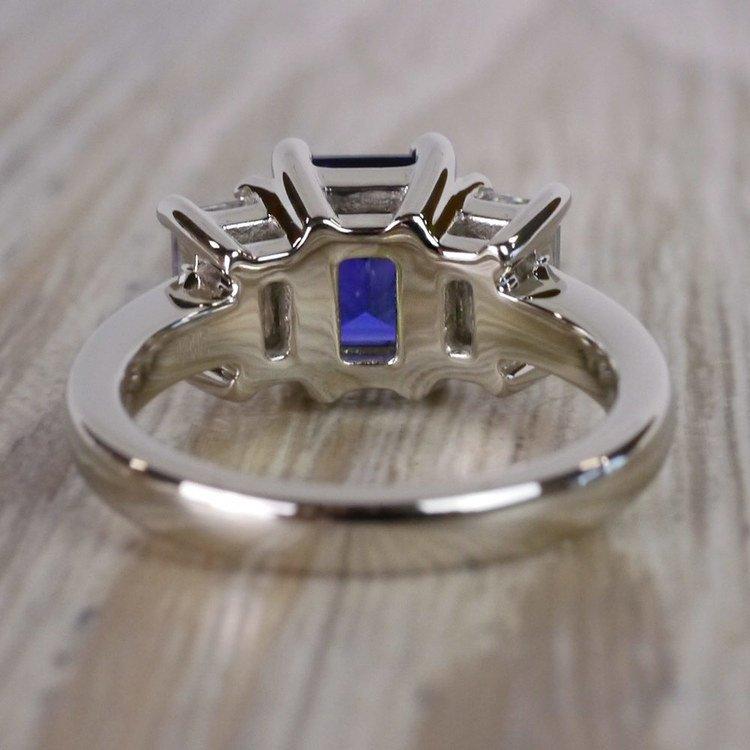 Custom Blue Sapphire & Emerald Diamond Engagement Ring angle 4
