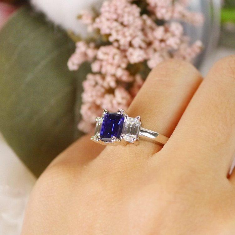 Custom Blue Sapphire & Emerald Diamond Engagement Ring angle 5