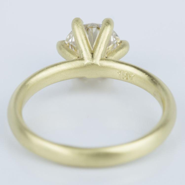 Custom Brush Finish Solitaire Engagement Ring in Yellow Gold (1.42 ct.) angle 4