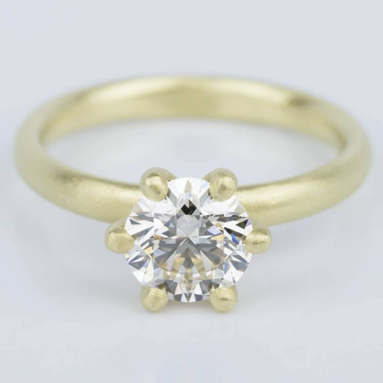Custom Brush Finish Solitaire Engagement Ring in Yellow Gold (1.42 ct.)