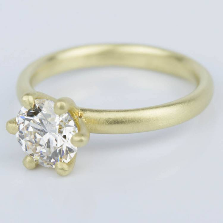 Custom Brush Finish Solitaire Engagement Ring in Yellow Gold (1.42 ct.) angle 2