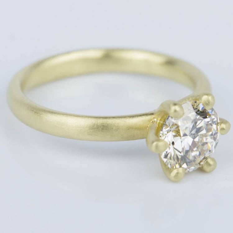 Custom Brush Finish Solitaire Engagement Ring in Yellow Gold (1.42 ct.) angle 3