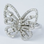 Custom Butterfly Shaped Diamond Fashion Ring  - small angle 2