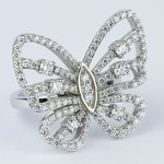Custom Butterfly Shaped Diamond Fashion Ring  - small angle 3