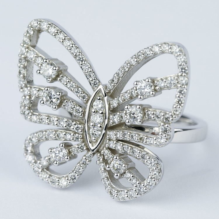 Custom Butterfly Shaped Diamond Fashion Ring  angle 2
