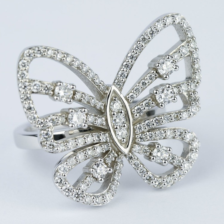 Custom Butterfly Shaped Diamond Fashion Ring  angle 3