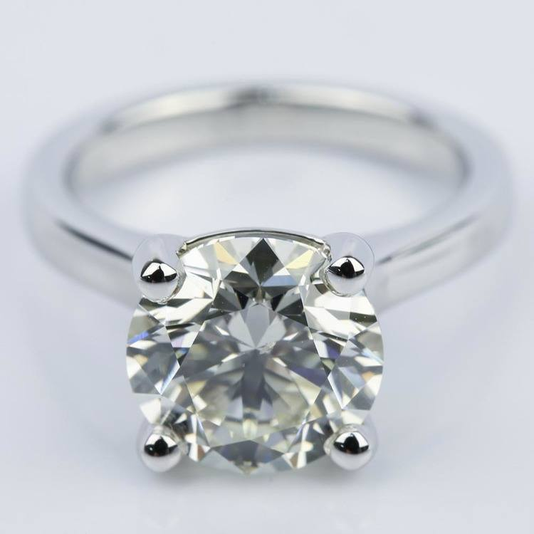 Custom Cathedral Solitaire Diamond Ring (3 Carat)