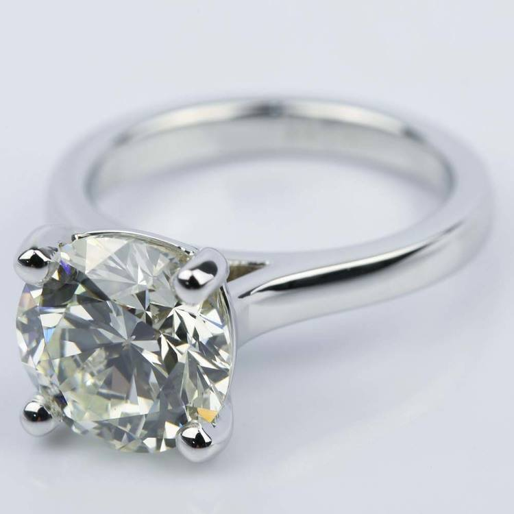Custom Cathedral Solitaire Diamond Ring (3 Carat) angle 2
