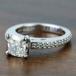 Custom Cushion Pave Cathedral Diamond Engagement Ring (1.51 Carat) - small angle 2