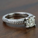 Custom Cushion Pave Cathedral Diamond Engagement Ring (1.51 Carat) - small angle 3