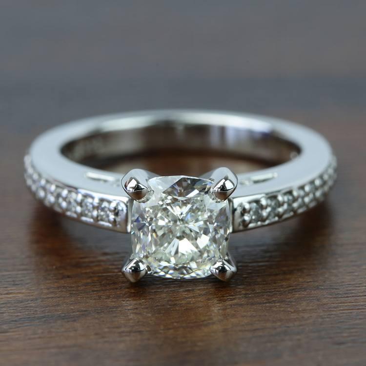 Custom Cushion Pave Cathedral Diamond Engagement Ring (1.51 Carat)