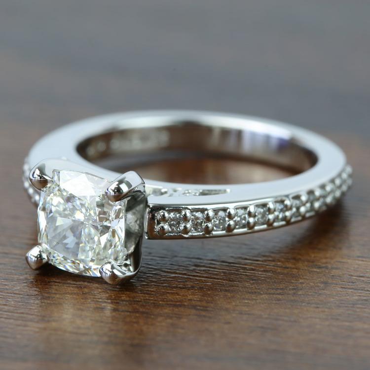 Custom Cushion Pave Cathedral Diamond Engagement Ring (1.51 Carat) angle 2