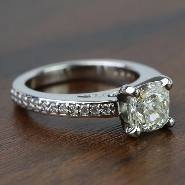 Custom Cushion Pave Cathedral Diamond Engagement Ring (1.51 Carat) angle 3