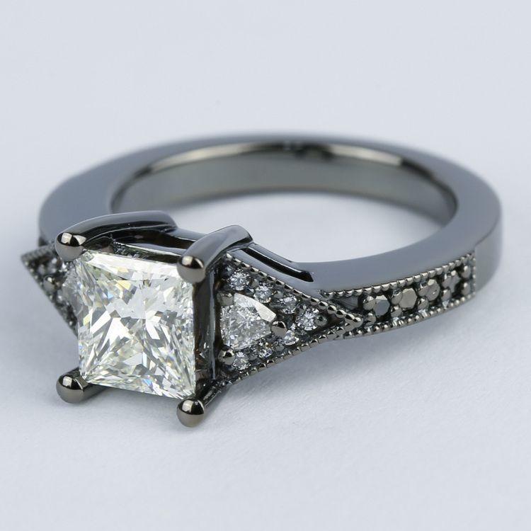Custom Princess Diamond Engagement Ring in Black Gold angle 2