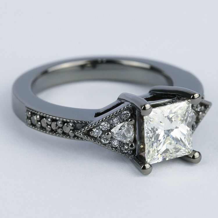 Custom Princess Diamond Engagement Ring in Black Gold angle 3
