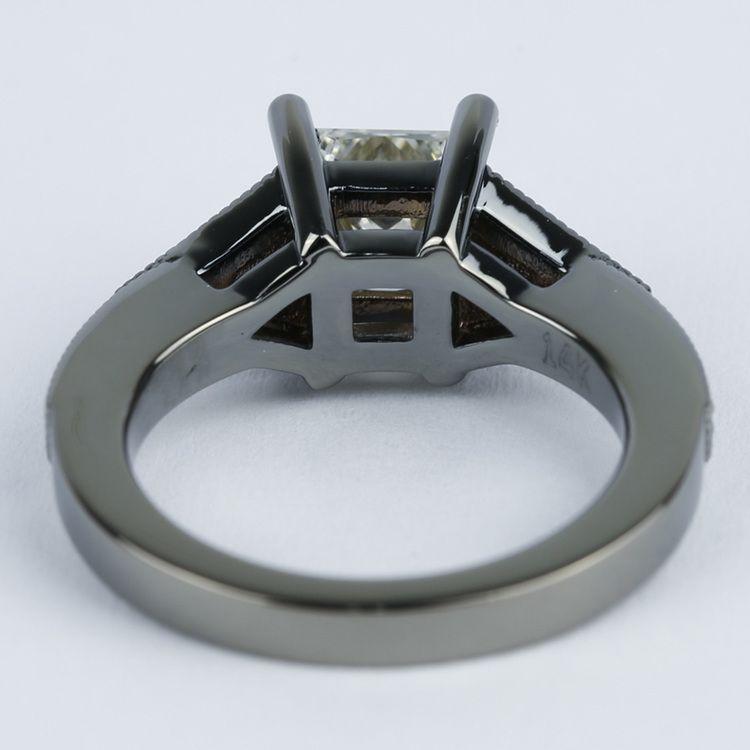 Custom Princess Diamond Engagement Ring in Black Gold angle 4