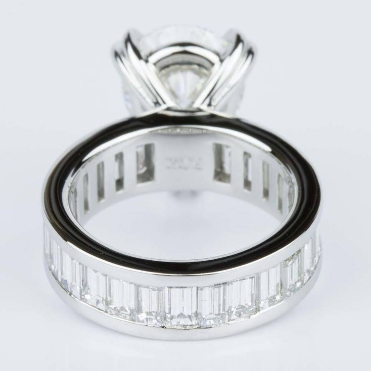 Custom Pear-Cut Diamond & Baguette Eternity Engagement Ring (4.32 ct.) angle 4