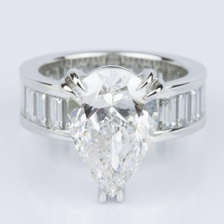 Custom Pear-Cut Diamond & Baguette Eternity Engagement Ring (4.32 ct.)