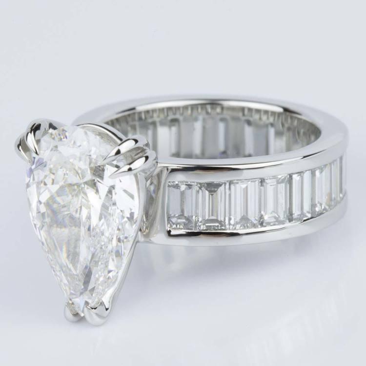 Custom Pear-Cut Diamond & Baguette Eternity Engagement Ring (4.32 ct.) angle 2