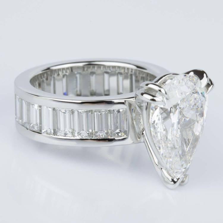 Custom Pear-Cut Diamond & Baguette Eternity Engagement Ring (4.32 ct.) angle 3