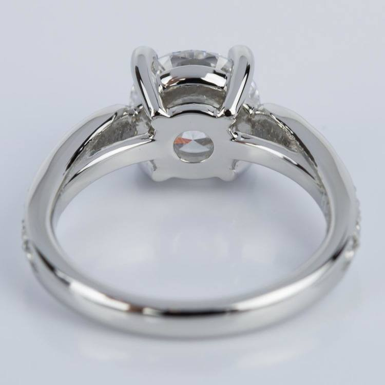 Custom Diamond Cathedral Engagement Ring in Platinum (1.51 ct.) angle 4
