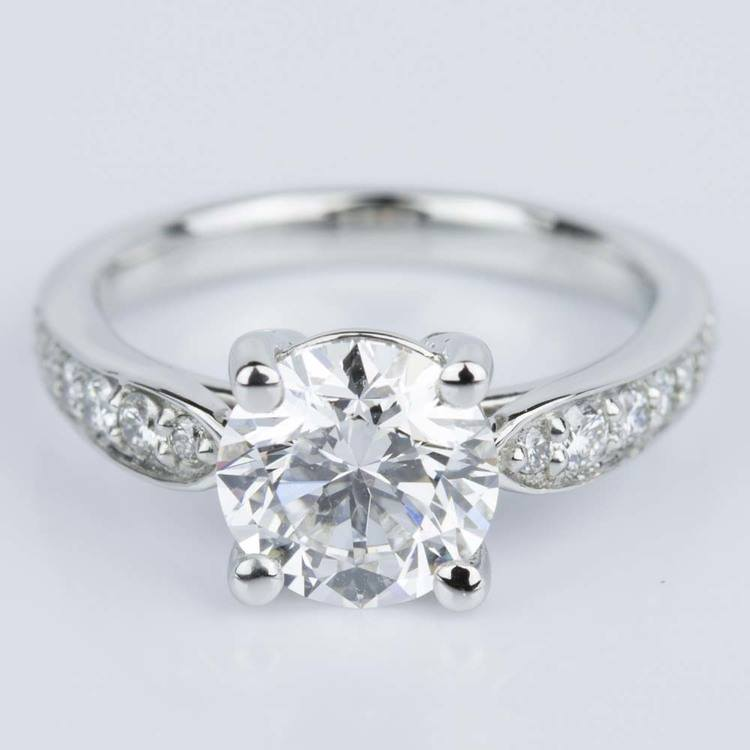 Custom Diamond Cathedral Engagement Ring in Platinum (1.51 ct.)
