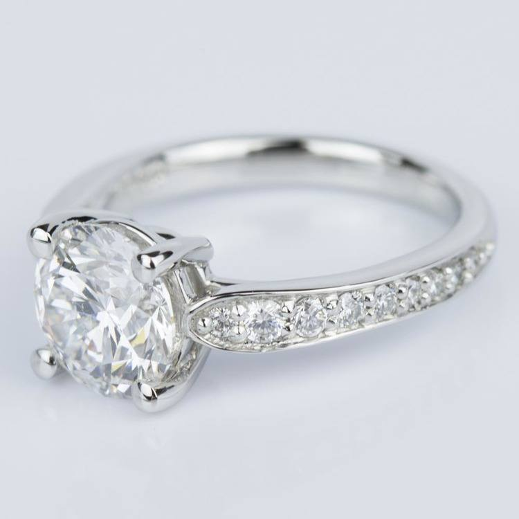 Custom Diamond Cathedral Engagement Ring in Platinum (1.51 ct.) angle 2