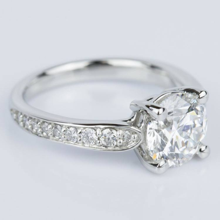 Custom Diamond Cathedral Engagement Ring in Platinum (1.51 ct.) angle 3