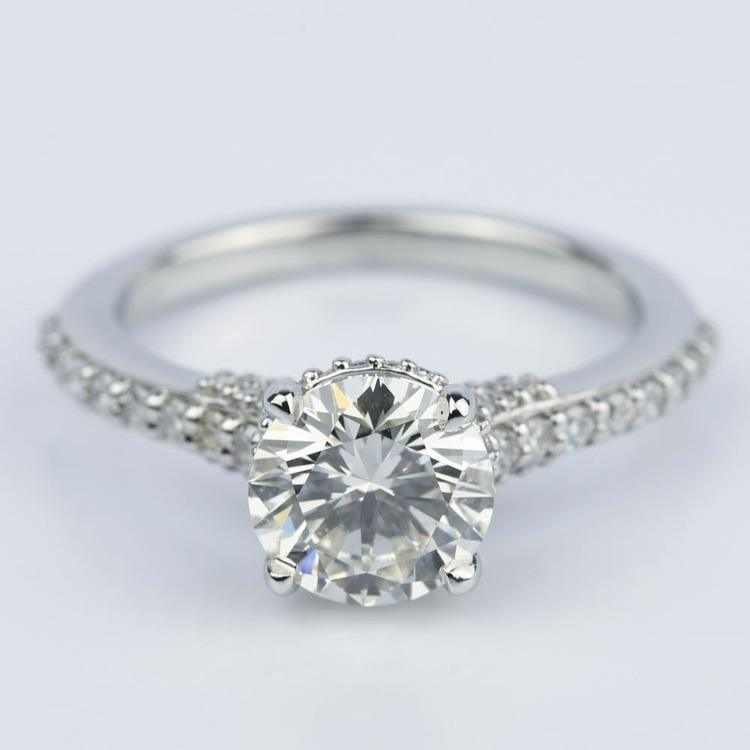 Custom Diamond Collar Engagement Ring in Platinum