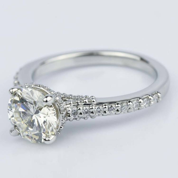 Custom Diamond Collar Engagement Ring in Platinum angle 2