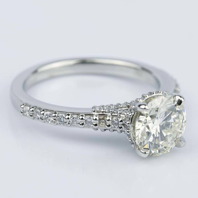 Custom Diamond Collar Engagement Ring in Platinum angle 3