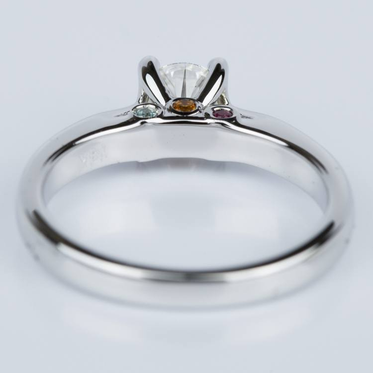 Custom Diamond Engagement Ring with Gemstone Accents angle 4