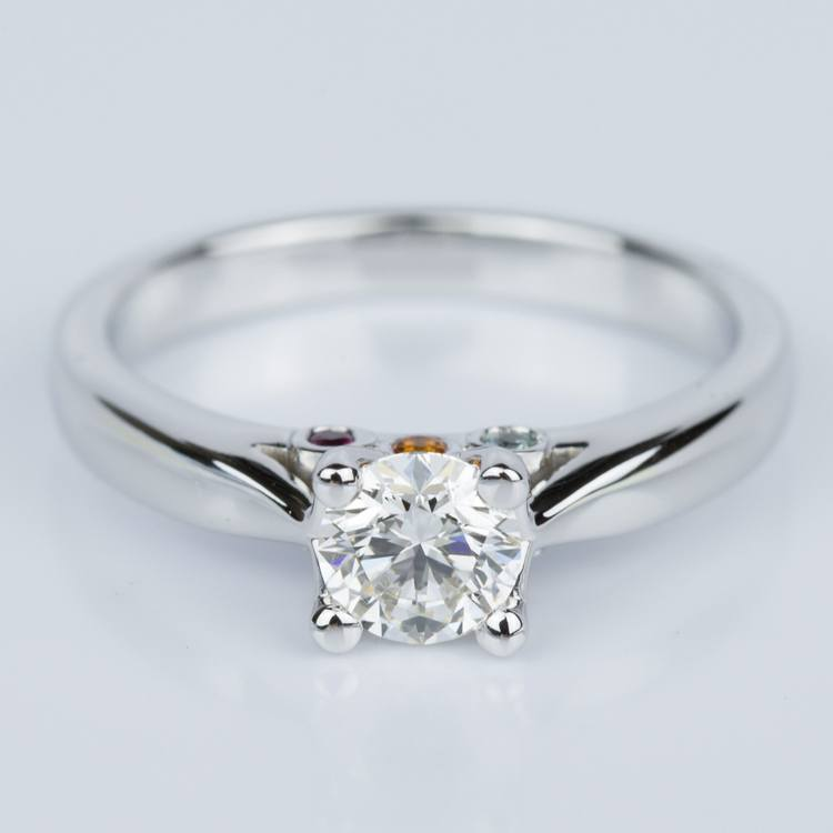 Custom Diamond Engagement Ring with Gemstone Accents