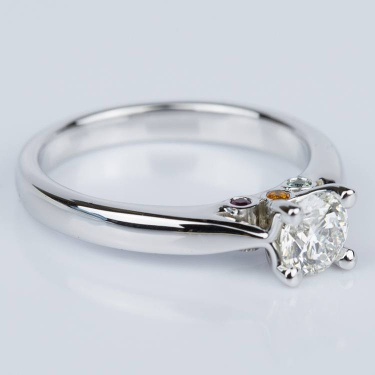 Custom Diamond Engagement Ring with Gemstone Accents angle 3